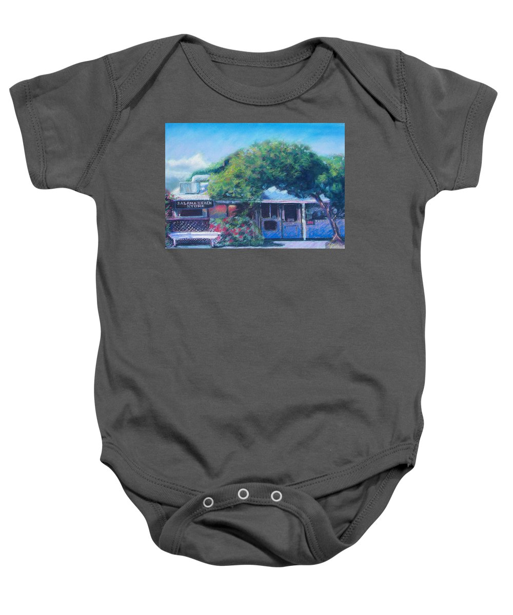 Jalama Beach Store Baby Onesie featuring the pastel Jalama Beach Store by Laurie Paci