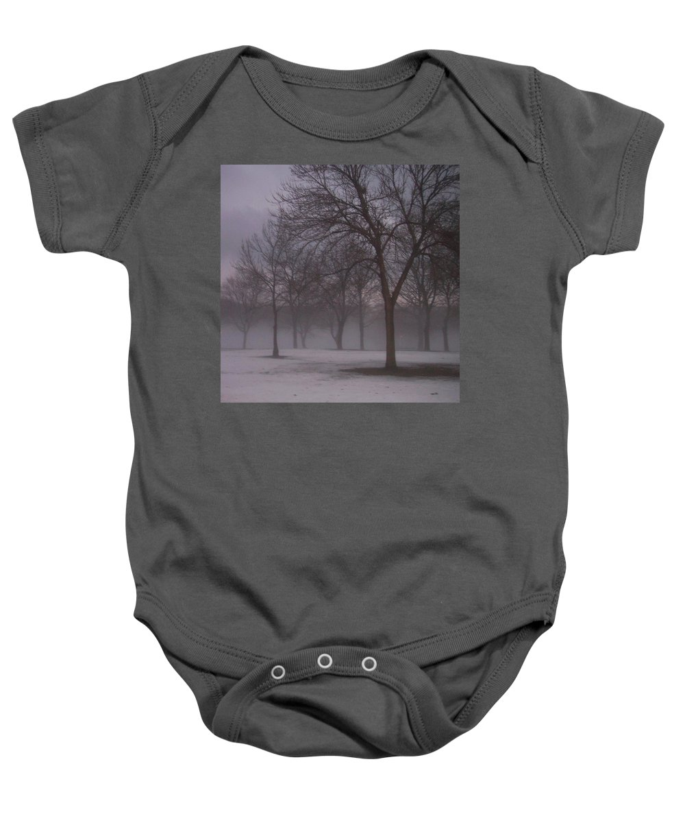 January Baby Onesie featuring the photograph January Fog 4 by Anita Burgermeister