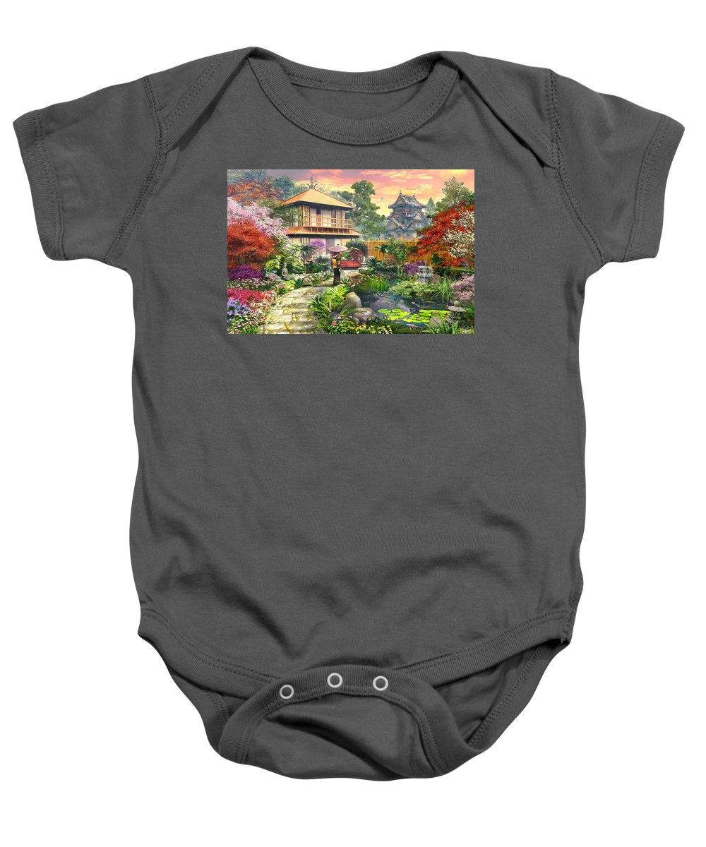 Horizontal Baby Onesie featuring the digital art Japan Garden Variant 2 by Dominic Davison