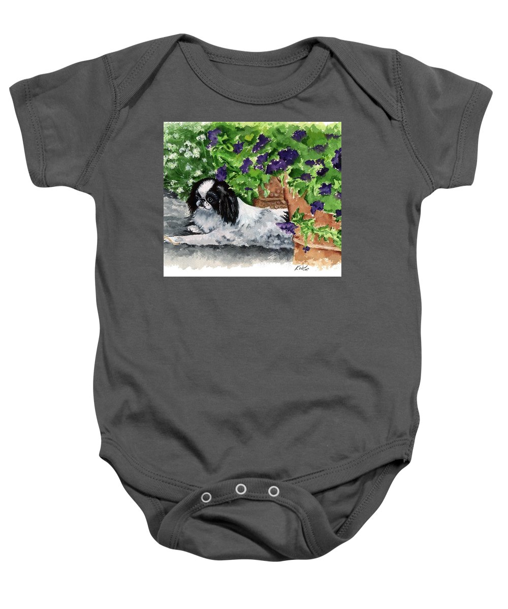 Japanese Chin Baby Onesie featuring the painting Japanese Chin Puppy And Petunias by Kathleen Sepulveda