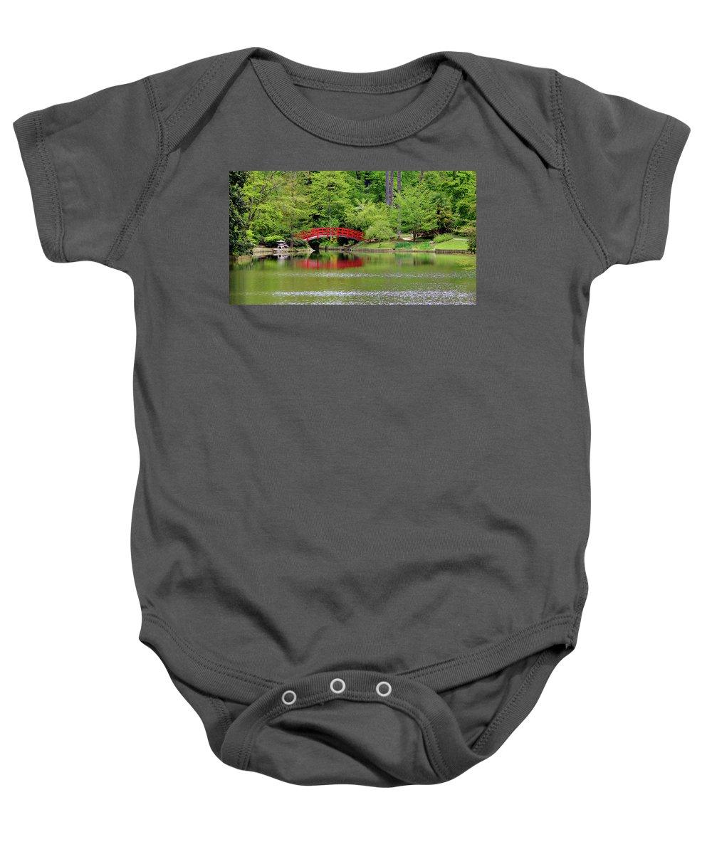 Japanese Garden Baby Onesie featuring the photograph Japanese Garden Bridge by Cynthia Guinn