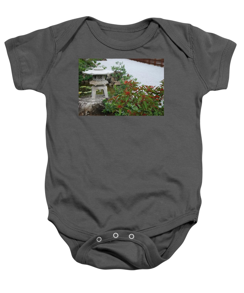 Rocks Baby Onesie featuring the photograph Japanese Garden Lantern by Rob Hans