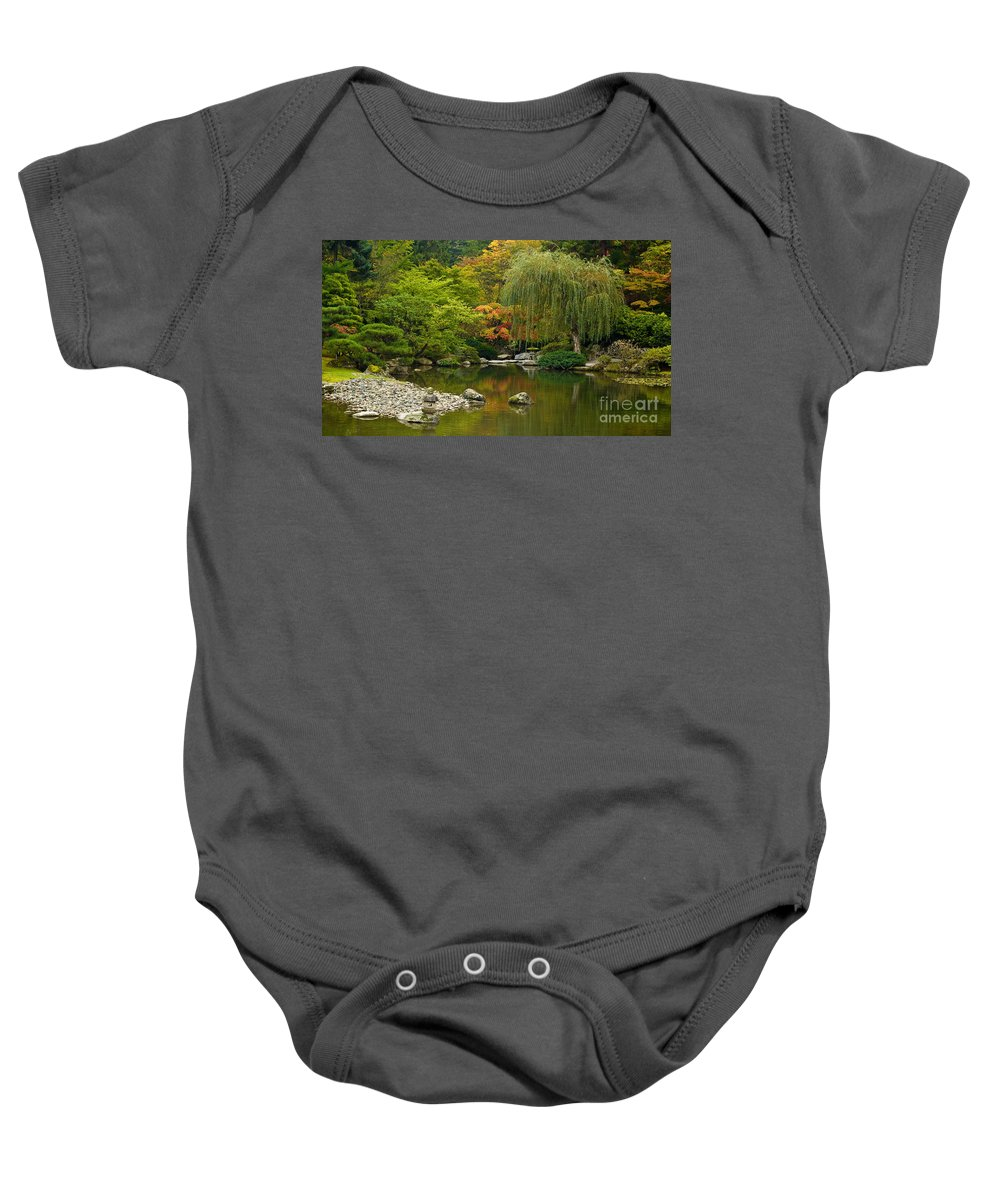 Japanese Gardens Baby Onesie featuring the photograph Japanese Gardens by Mike Reid