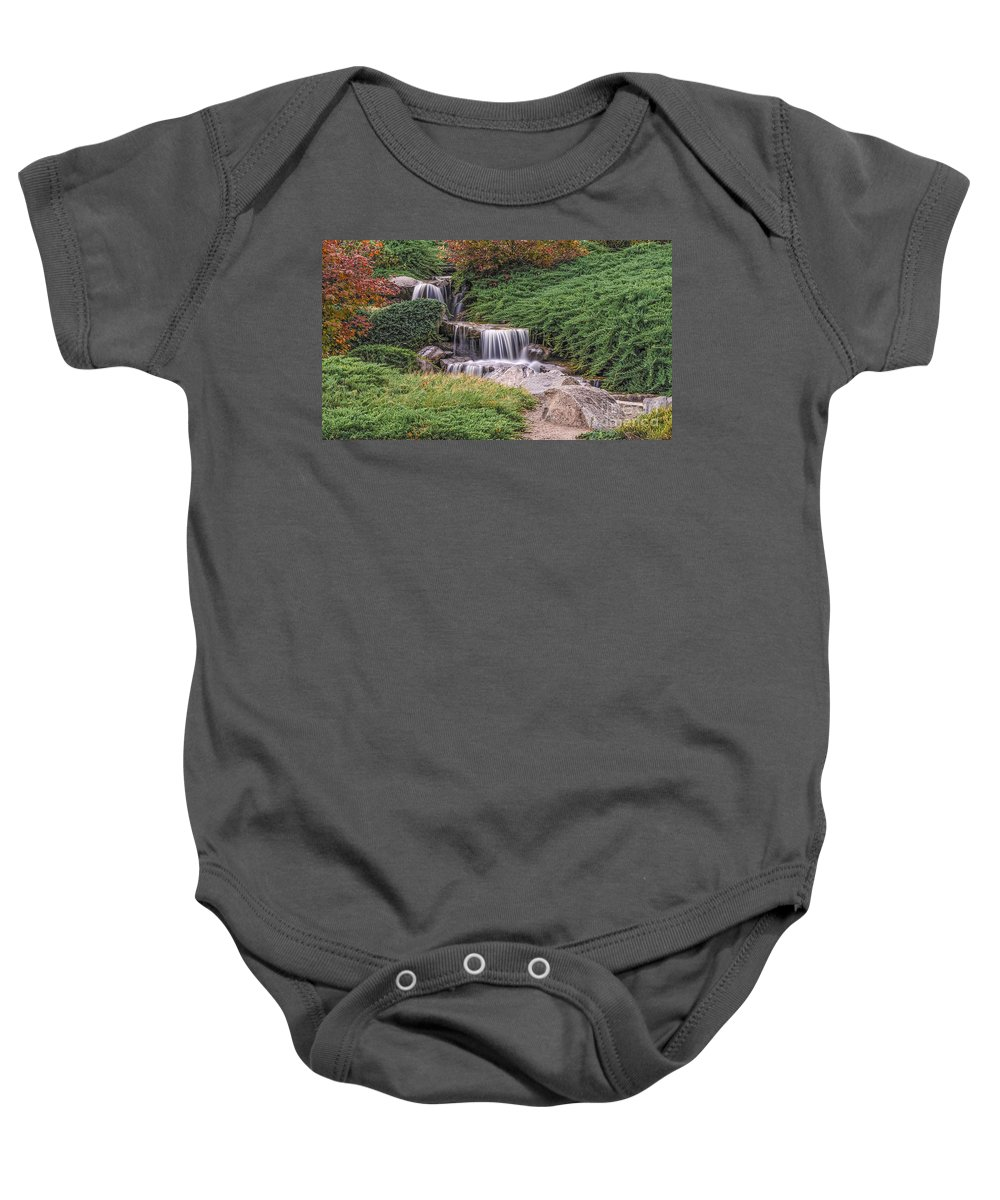 Australia Baby Onesie featuring the photograph Japanese Gardens Waterfall by Helen Woodford