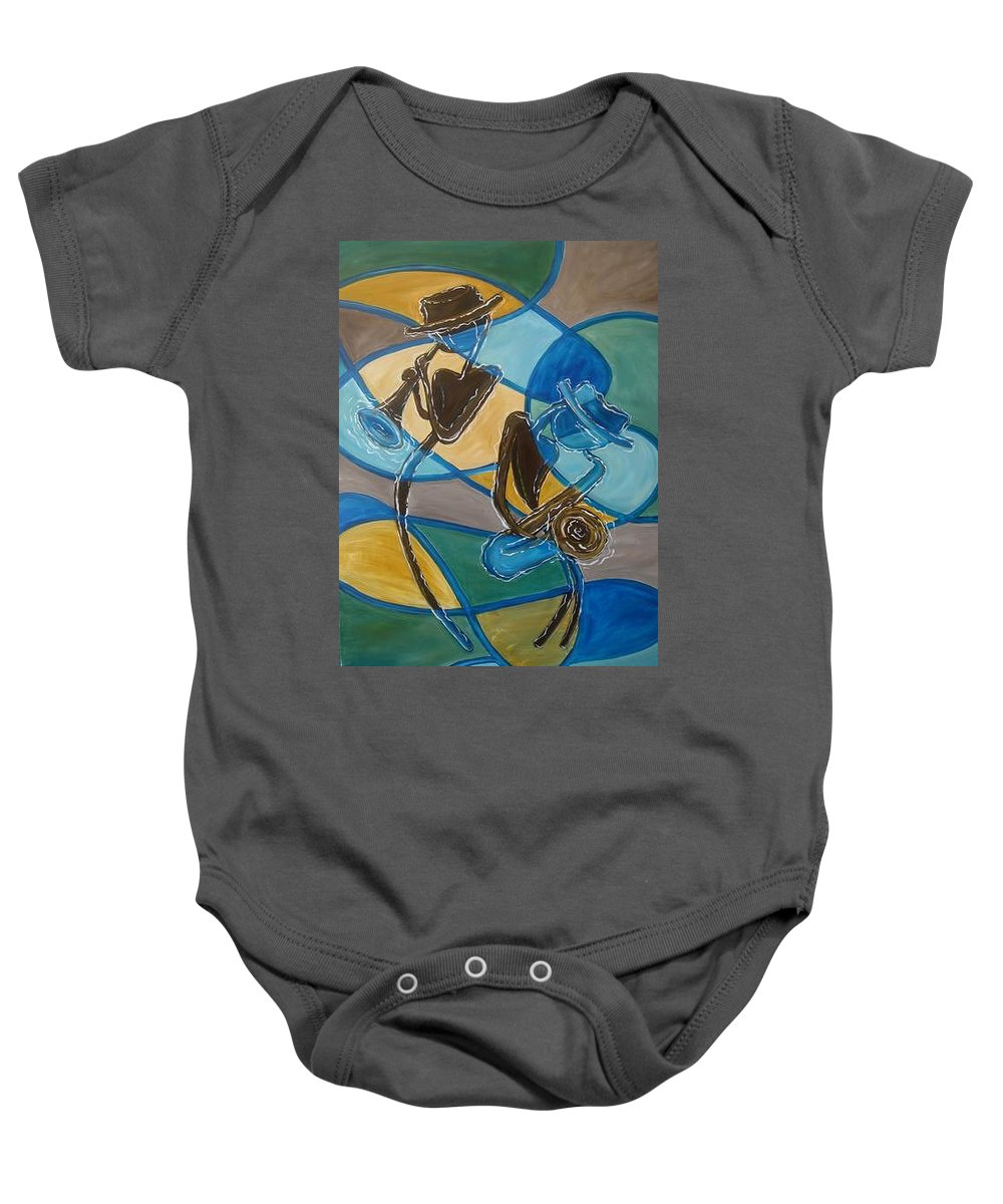 Jazz Baby Onesie featuring the painting Jazz Raz by Regina Walsh