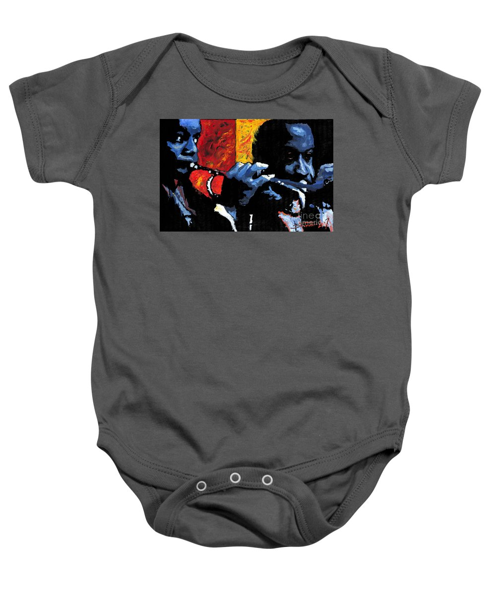 Jazz Baby Onesie featuring the painting Jazz Trumpeters by Yuriy Shevchuk