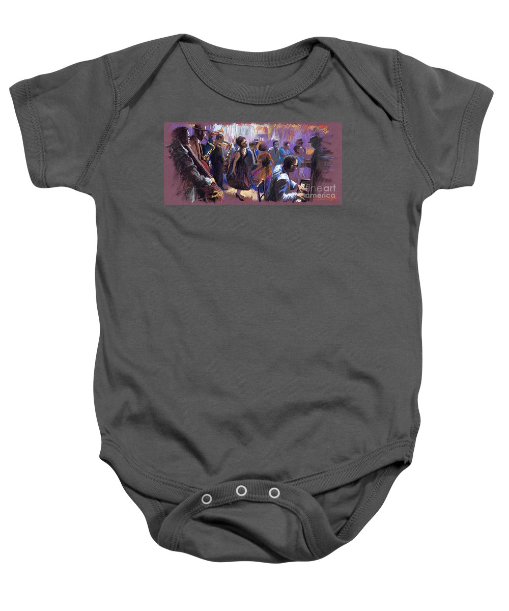 Jazz.pastel Baby Onesie featuring the painting Jazz by Yuriy Shevchuk