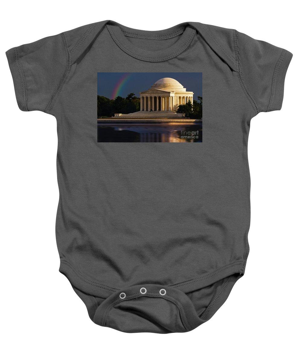 Thomas Jefferson Baby Onesie featuring the photograph Jefferson Memorial by Doug Sturgess