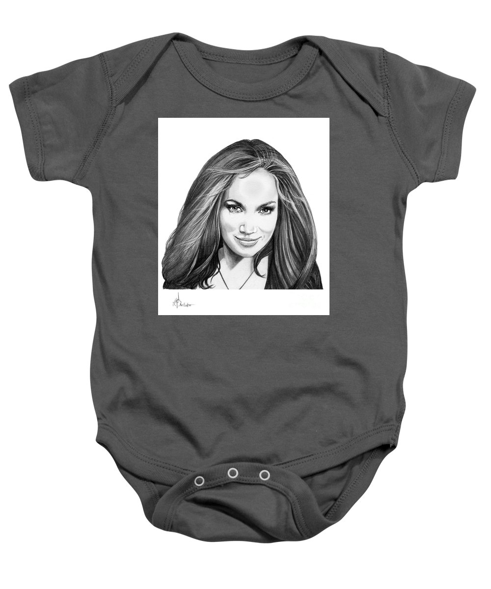 Drawing Baby Onesie featuring the drawing Jennifer Lopez by Murphy Elliott