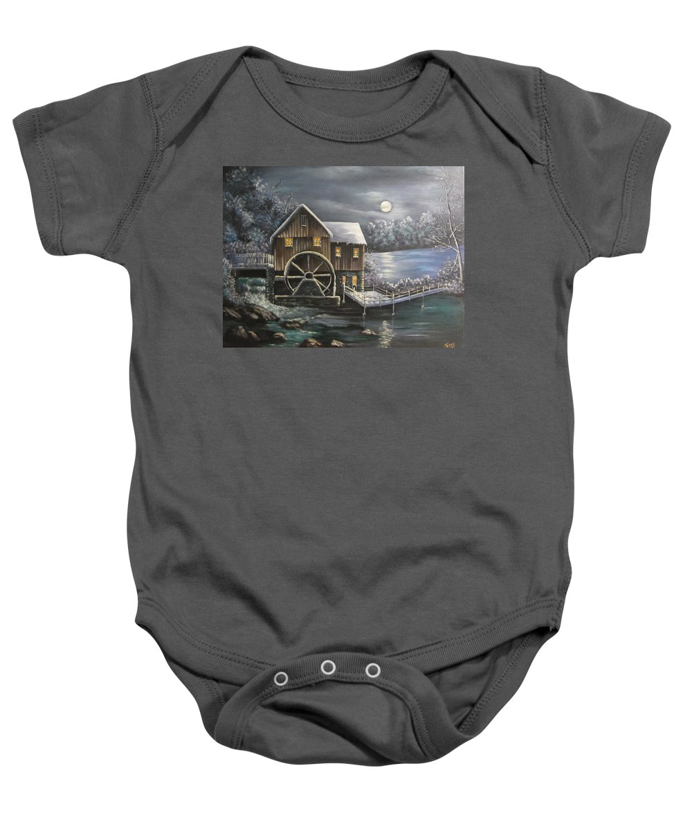 Mill Baby Onesie featuring the painting Jenny Mill by Terry Boulerice