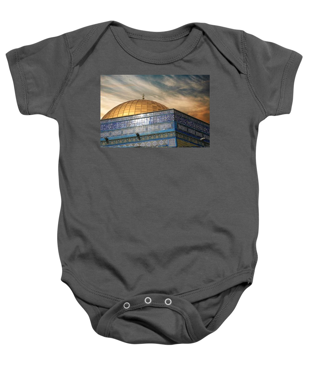 Dome Baby Onesie featuring the photograph Jerusalem - Dome Of The Rock Sky by Munir Alawi