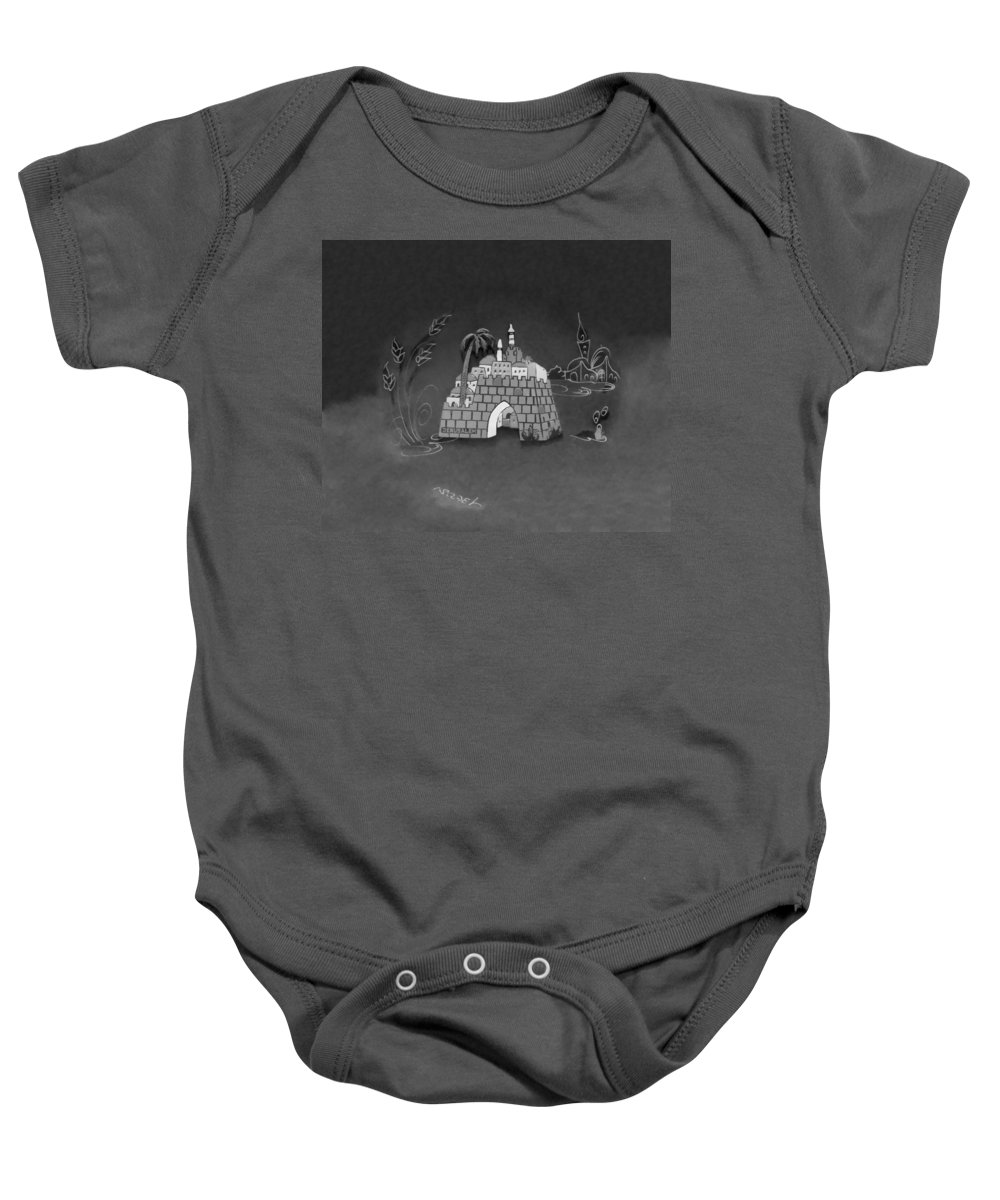 Jerusalem Baby Onesie featuring the photograph Jerusalem Israel In Monochrome by Rob Hans