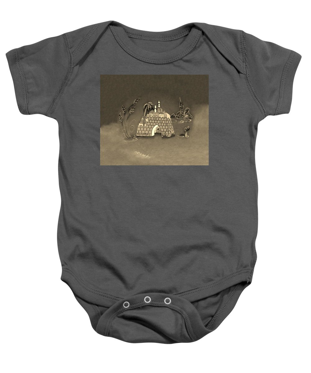 Jerusalem Baby Onesie featuring the photograph Jerusalem Israel In Sepia by Rob Hans