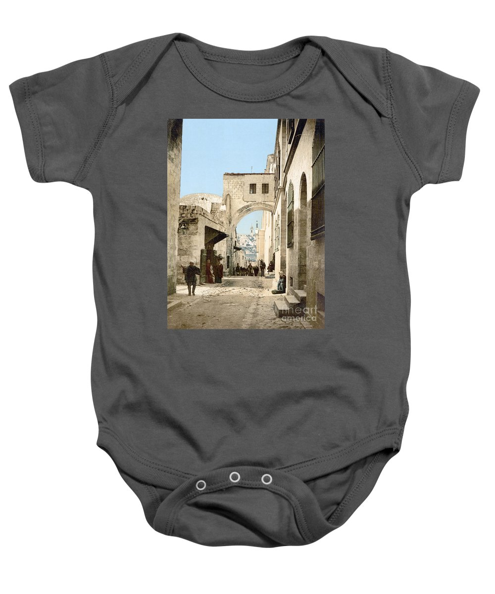 1900 Baby Onesie featuring the photograph Jerusalem: Via Dolorosa by Granger