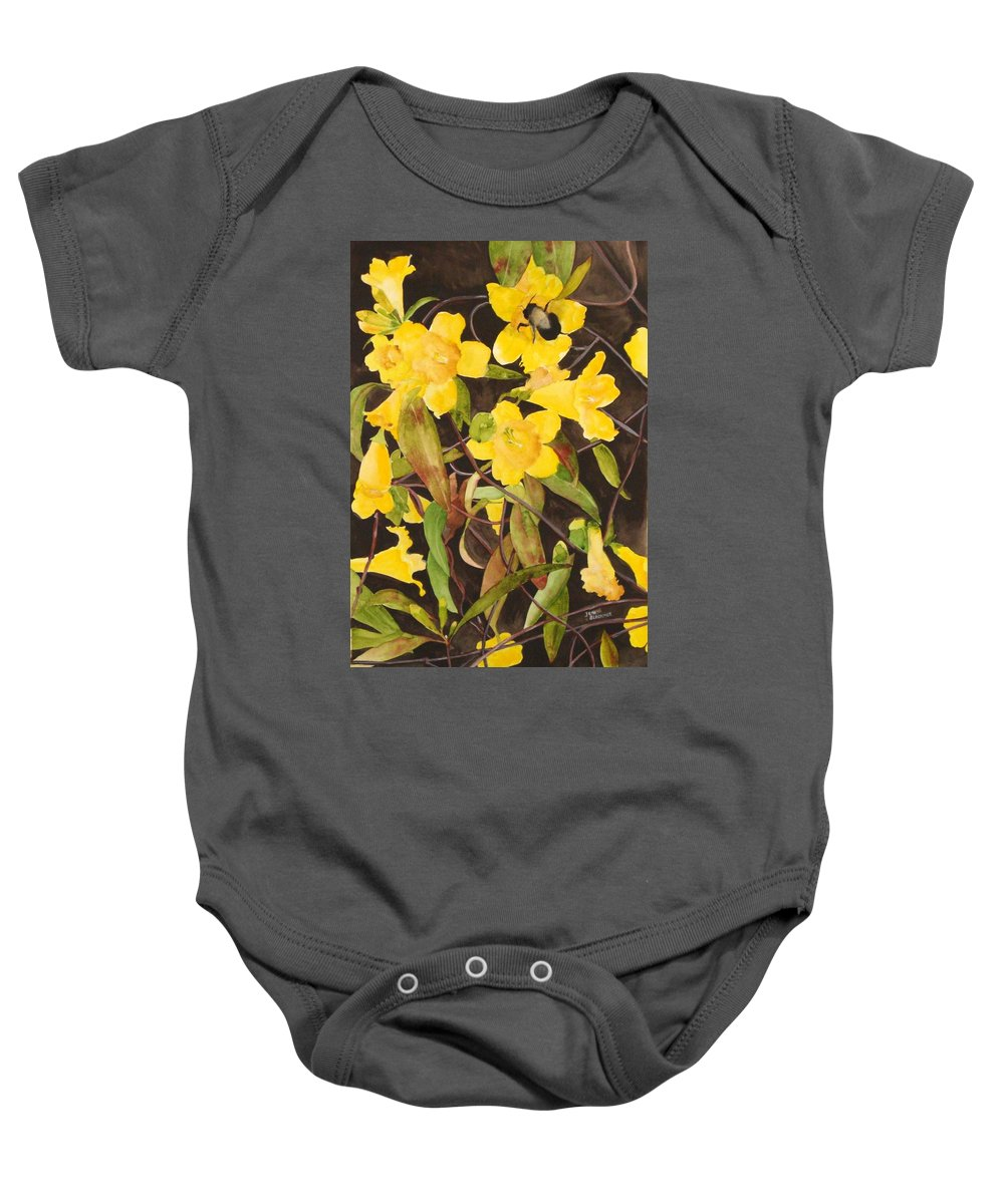 Flowers Baby Onesie featuring the painting Jessamine Jungle by Jean Blackmer