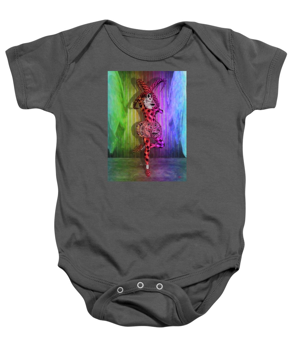 Circus Baby Onesie featuring the digital art Jester Rainbow Girl by Quim Abella