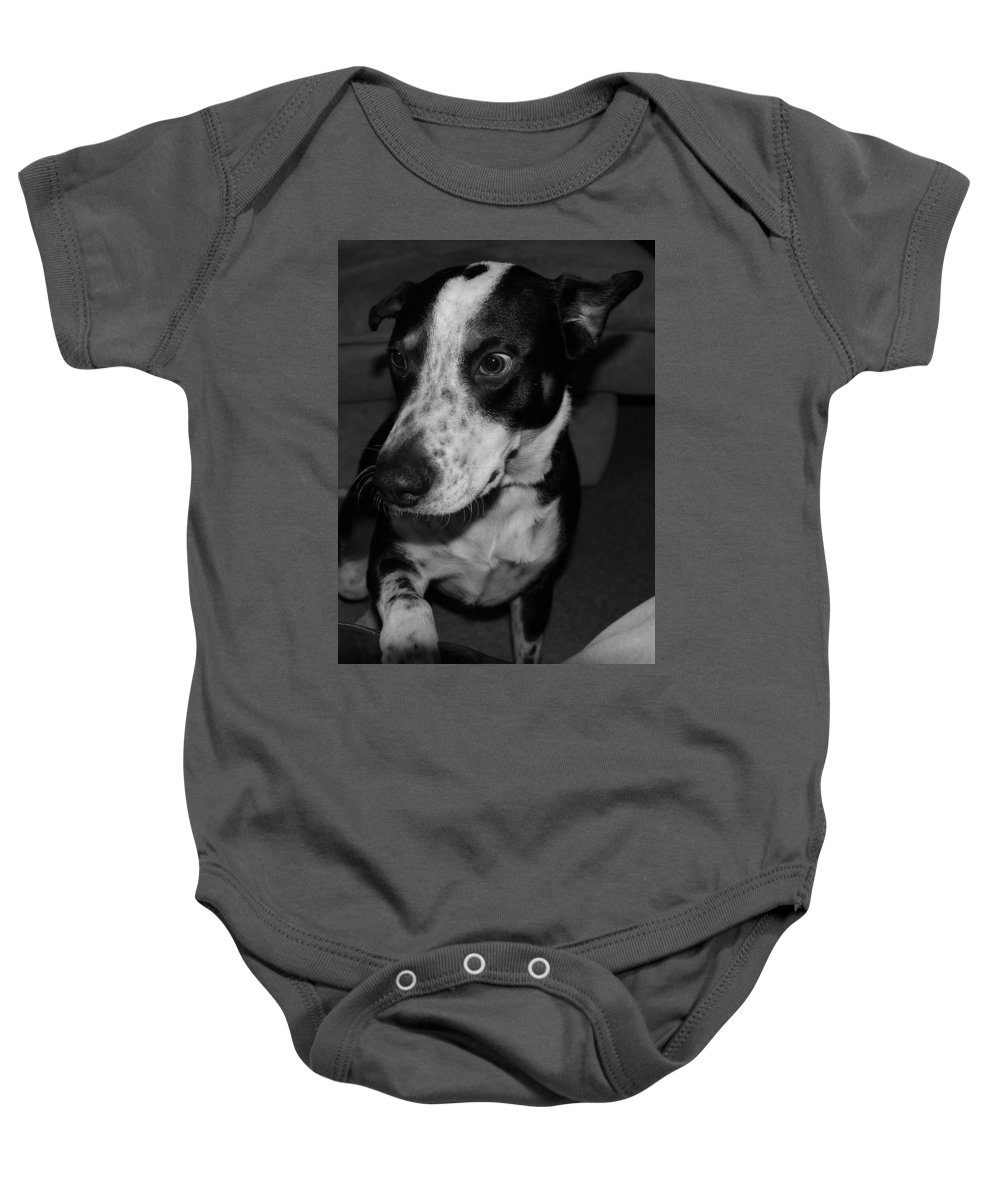 Black And White Baby Onesie featuring the photograph Jimmy by Rob Hans