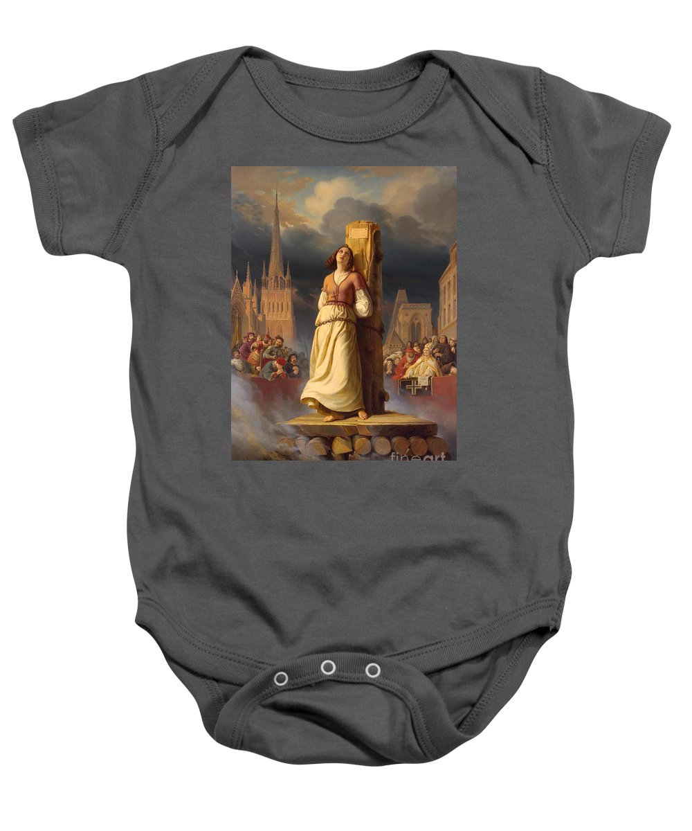 Joan Of Arc Baby Onesie featuring the painting Joan Of Arc's Death At The Stake by Hermann Anton Stilke