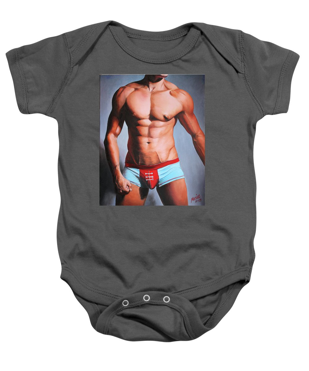 Gay Baby Onesie featuring the painting Jock by Maciel Cantelmo