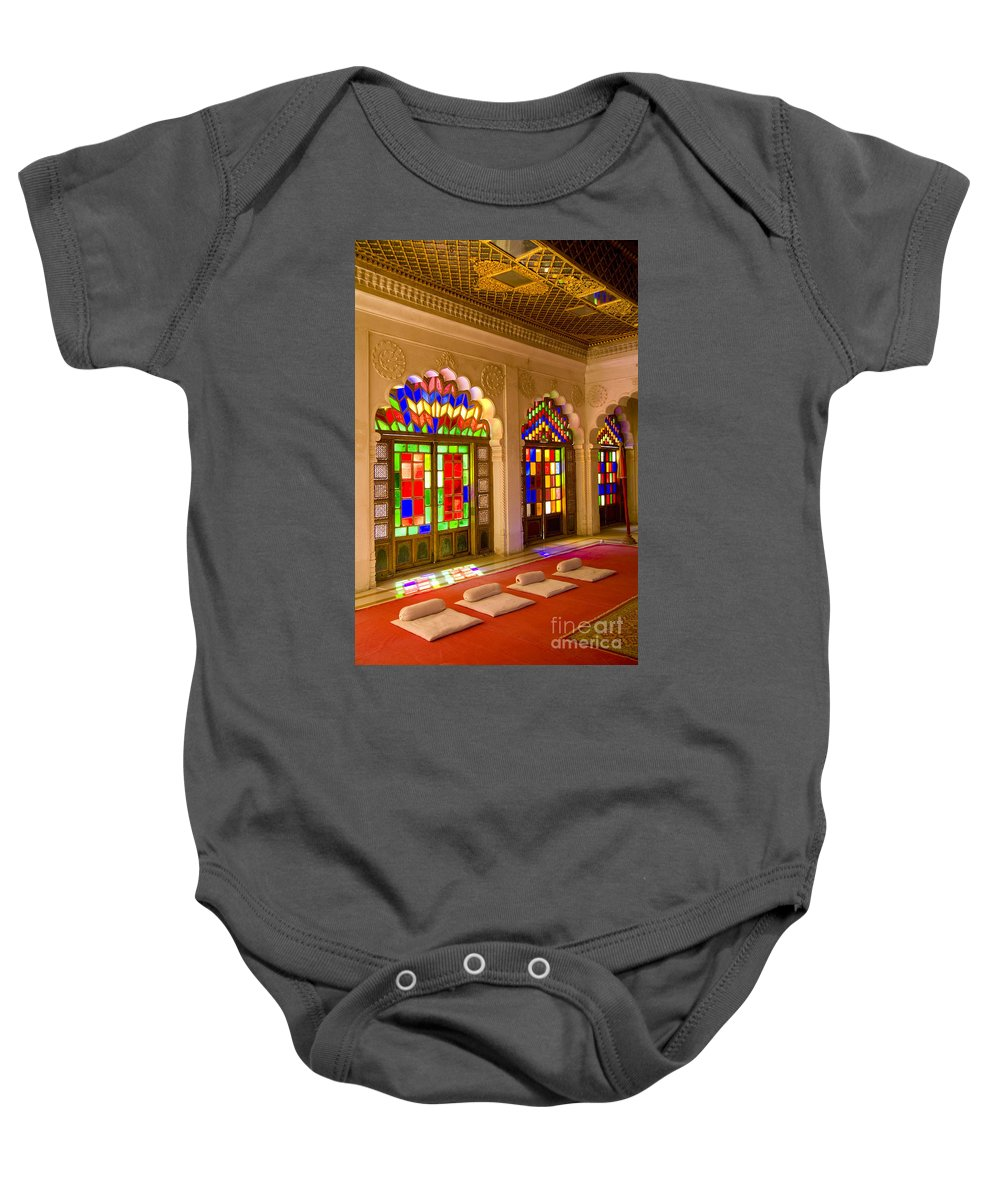 Architectural Baby Onesie featuring the photograph Jodhpur At Fort Mehrangarh by Bill Bachmann - Printscapes