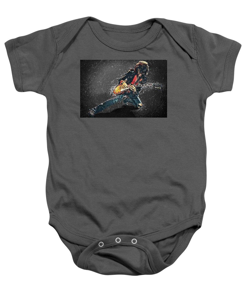 Joe Perry Baby Onesie featuring the digital art Joe Perry by Zapista Zapista