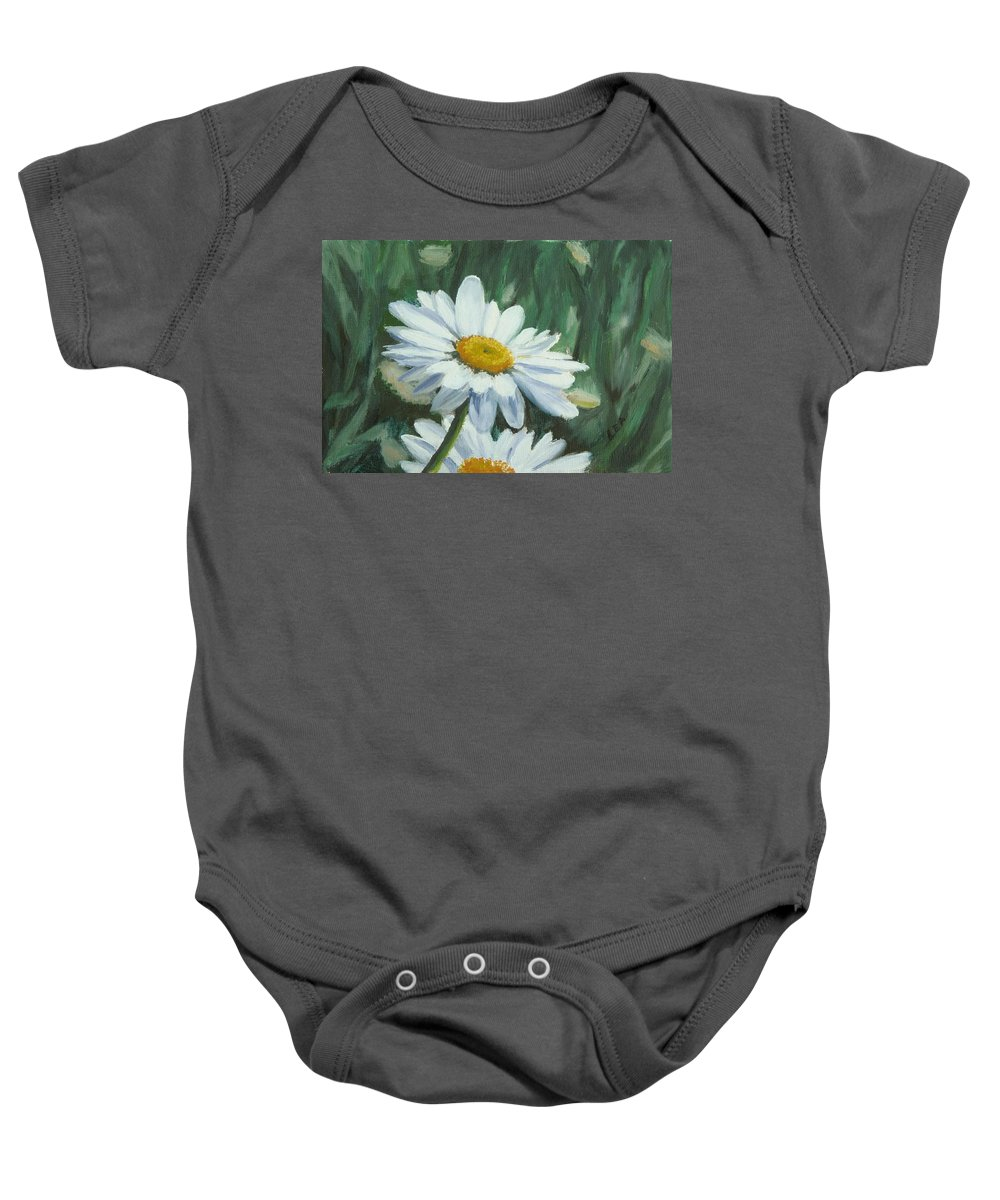 Daisy Baby Onesie featuring the painting Joe's Daisies by Lea Novak