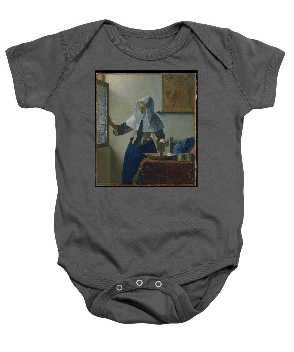 Johannes Vermeer Baby Onesie featuring the painting Johannes Vermeer Young_woman by Johannes Vermeer