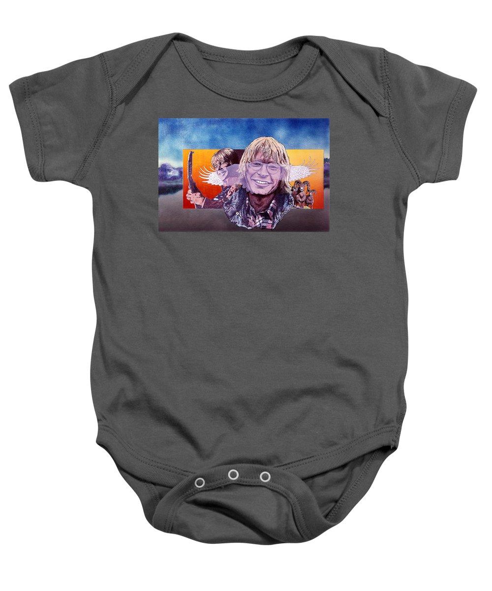 John Denver Baby Onesie featuring the mixed media John Denver by John D Benson