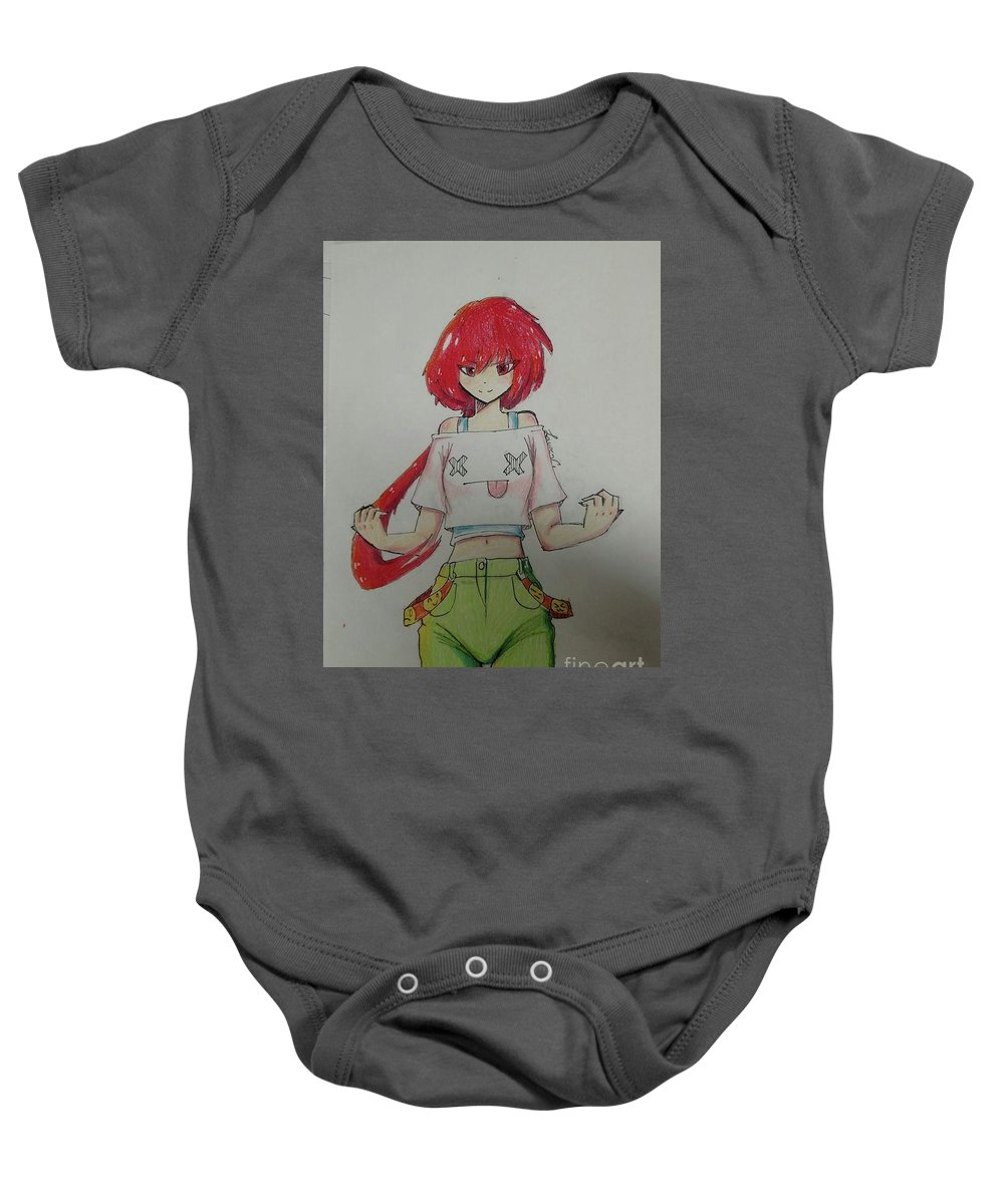 Baby Onesie featuring the drawing Joke's On You by Lauren Champion