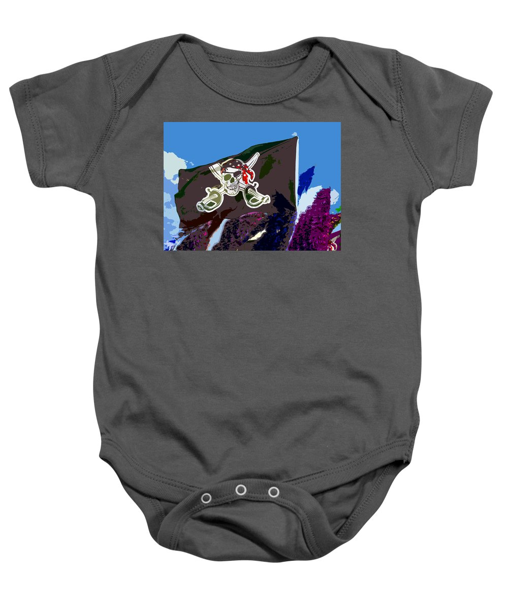 Jolly Roger Baby Onesie featuring the painting Jolly Roger by David Lee Thompson