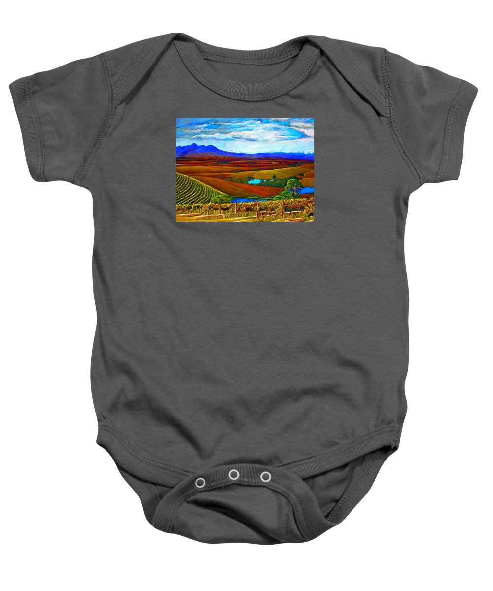 Vineyard Baby Onesie featuring the painting Jordan Vineyard by Michael Durst