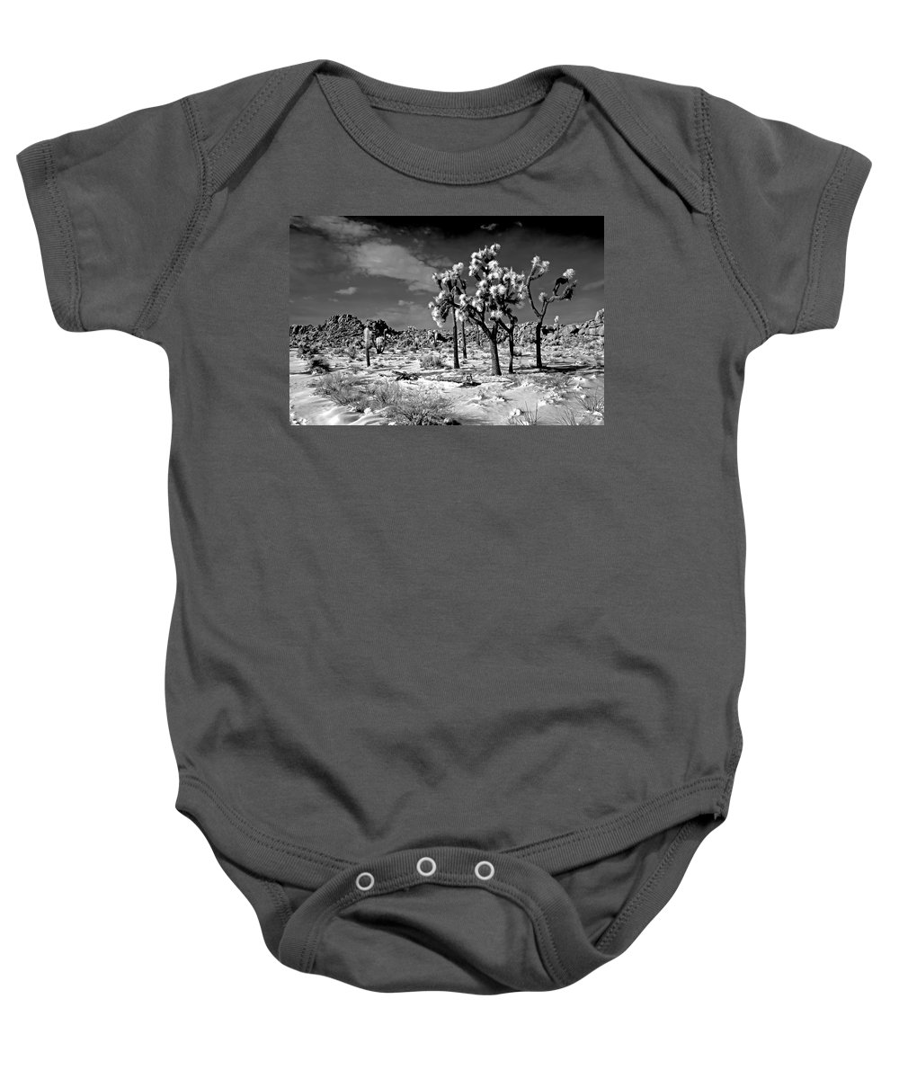 Joshua Tree Baby Onesie featuring the photograph Joshua Trees In Snow by Thomas Morris