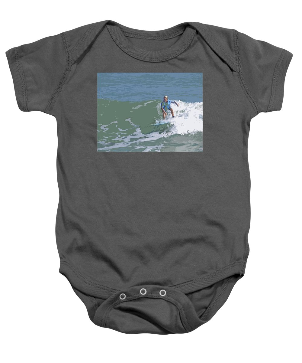 Surf Baby Onesie featuring the painting Joy Of Surfing - Three by Allan Hughes