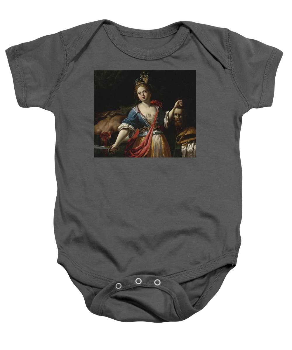 Giovanni Francesco Guerrieri Baby Onesie featuring the painting Judith With The Head Of Holofernes 2 by Giovanni Francesco Guerrieri