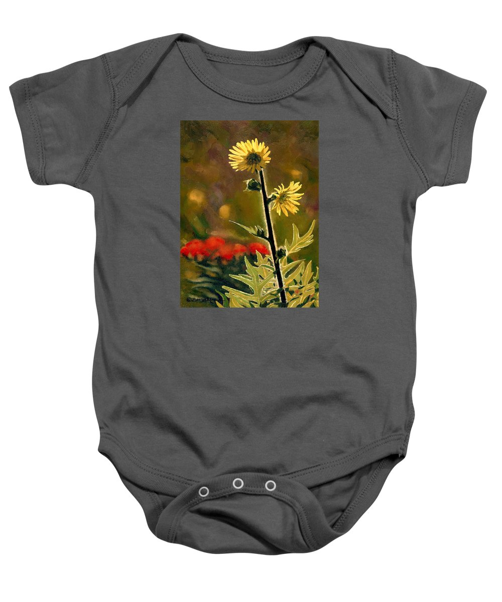 Prairie Flowers Baby Onesie featuring the painting July Afternoon-compass Plant by Bruce Morrison