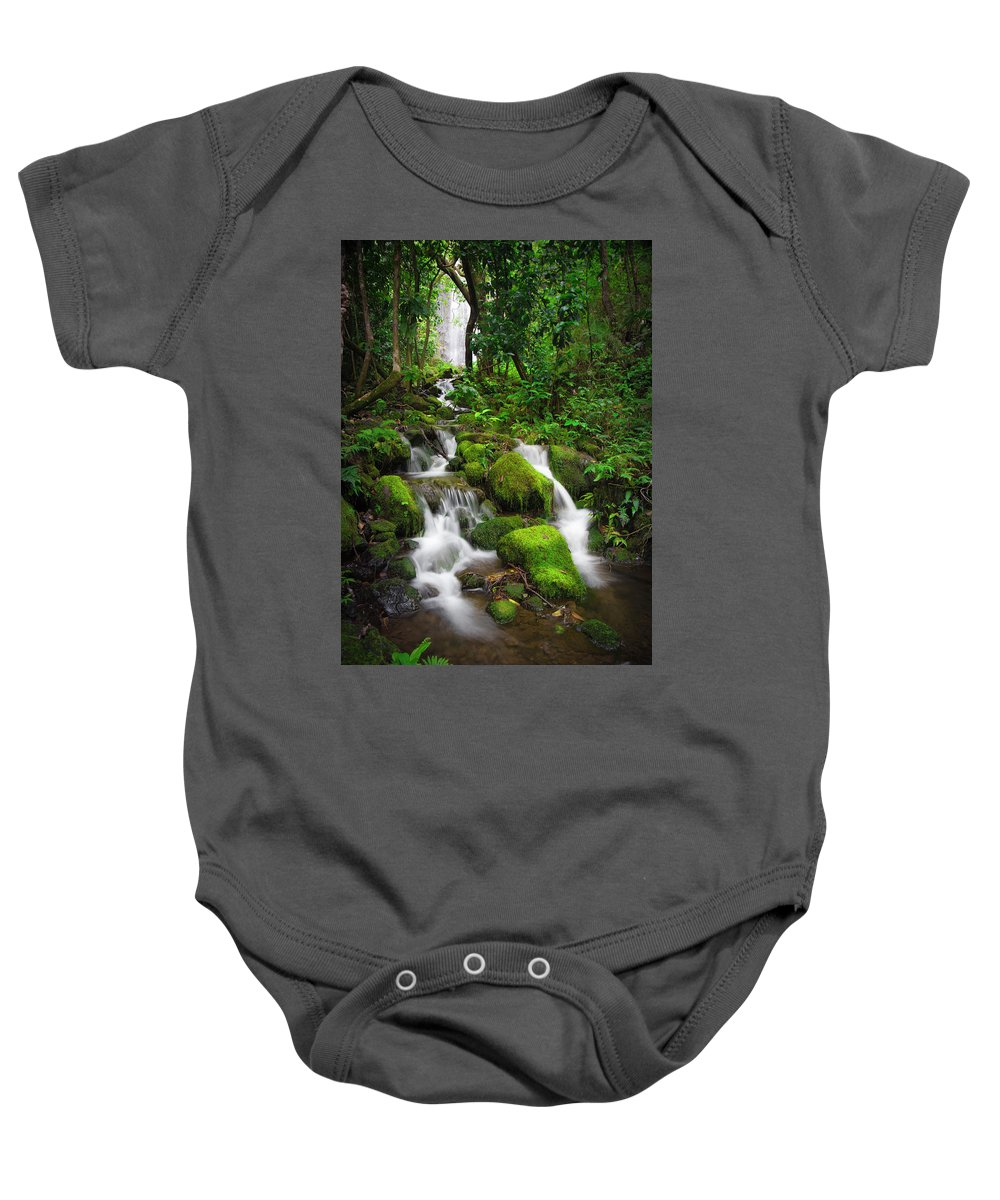 Hawaii Baby Onesie featuring the photograph Jungle Falls by John Simon