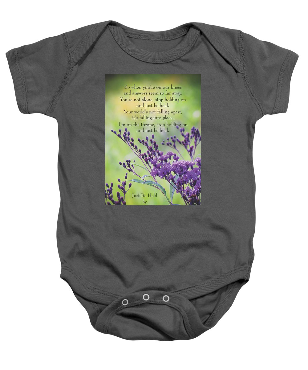 Casting Crowns Baby Onesie featuring the photograph Just Be Held by Debbie Karnes