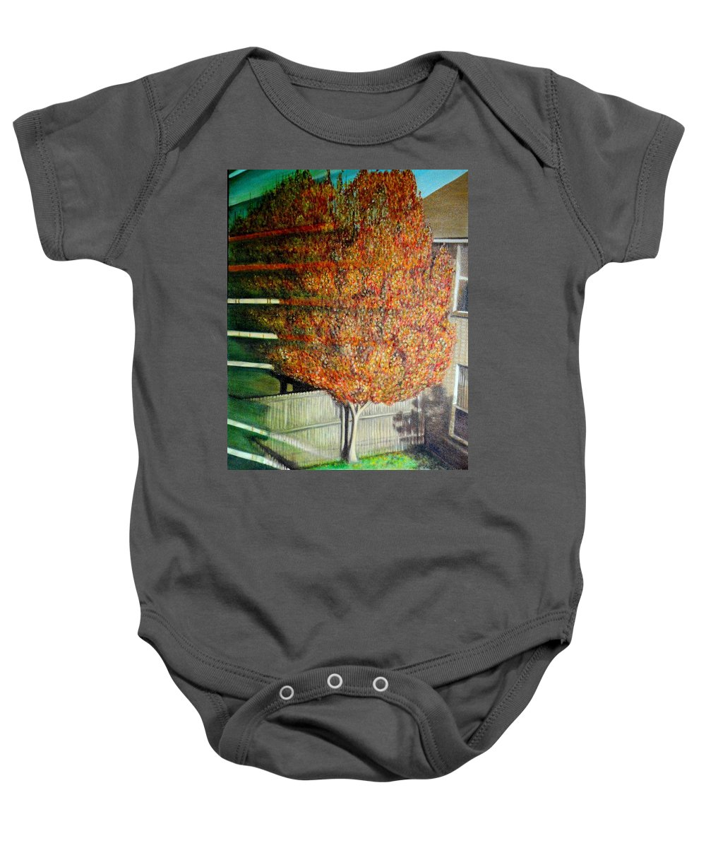 Fall Baby Onesie featuring the painting Just Before Fall by Usha Shantharam