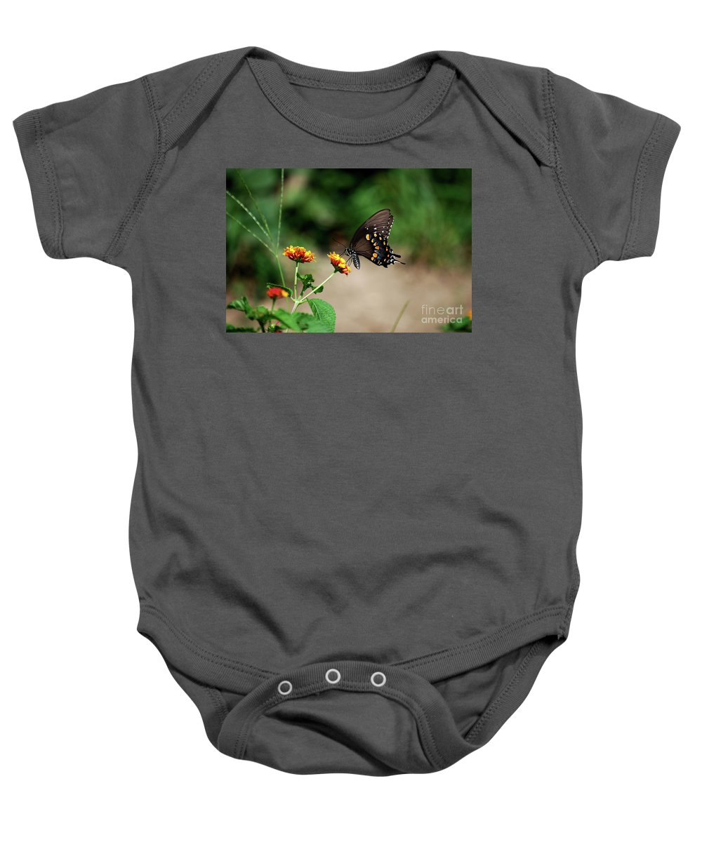 Swallowtail Baby Onesie featuring the photograph Just Me And My Flower by Lori Tambakis