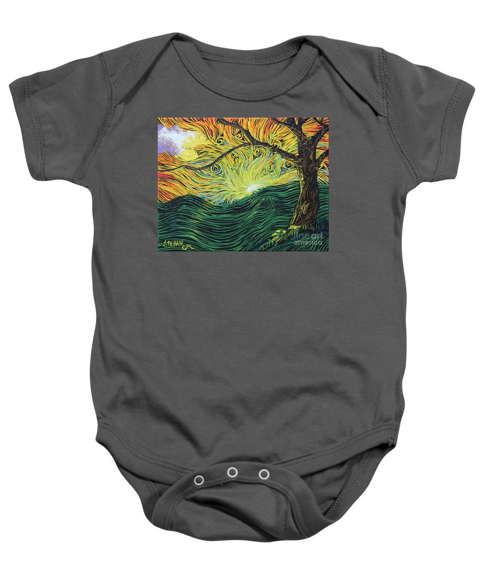 Squiggles Baby Onesie featuring the painting Just Over The Hill Too by Stefan Duncan