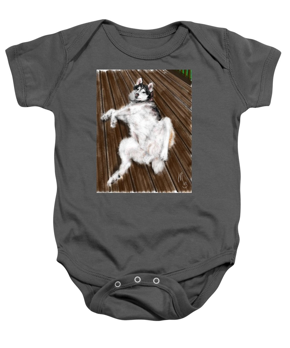 Animals Baby Onesie featuring the painting Just Playing by Lois Ivancin Tavaf