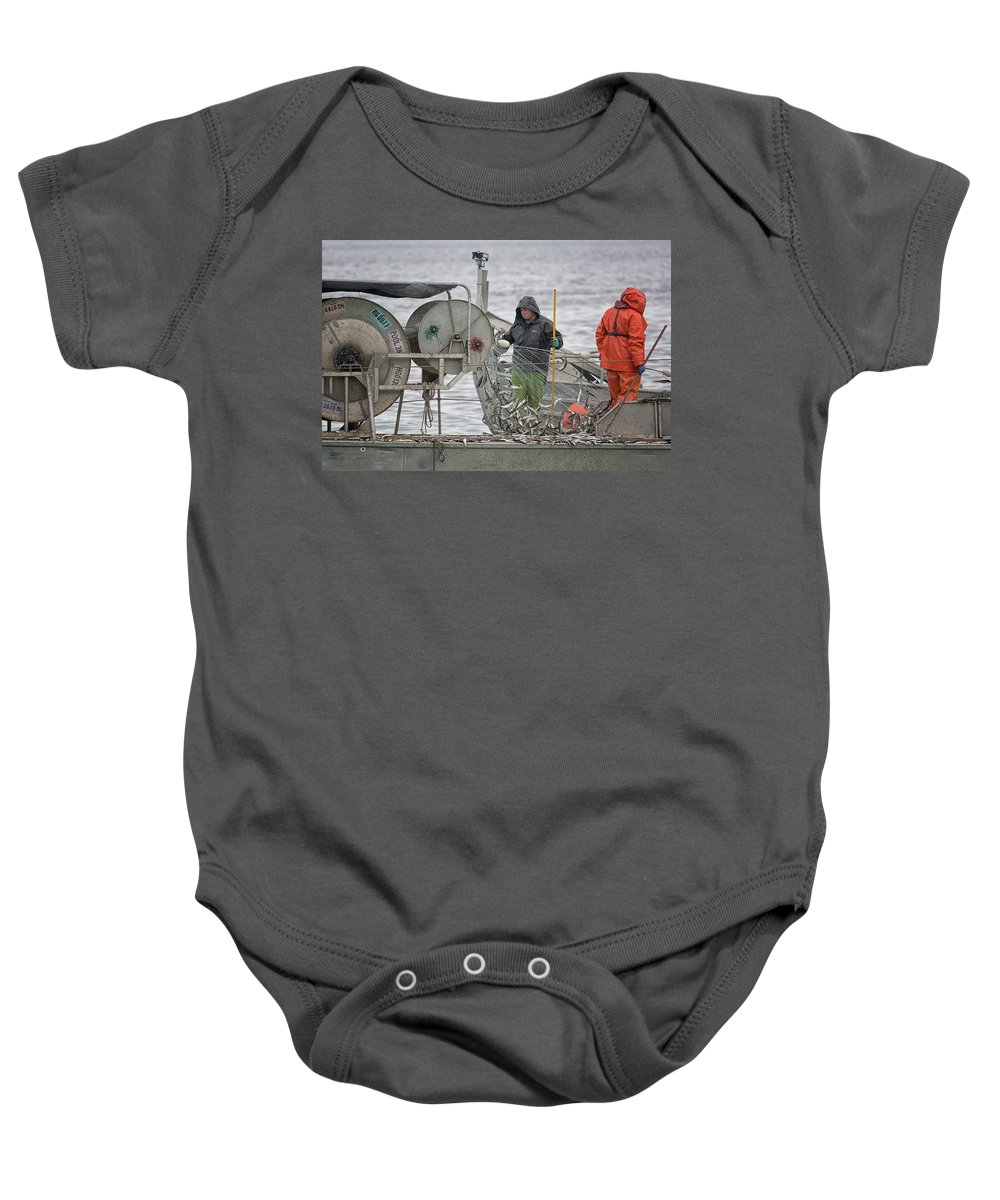 Herring Baby Onesie featuring the photograph Just Travlin Too by Randy Hall