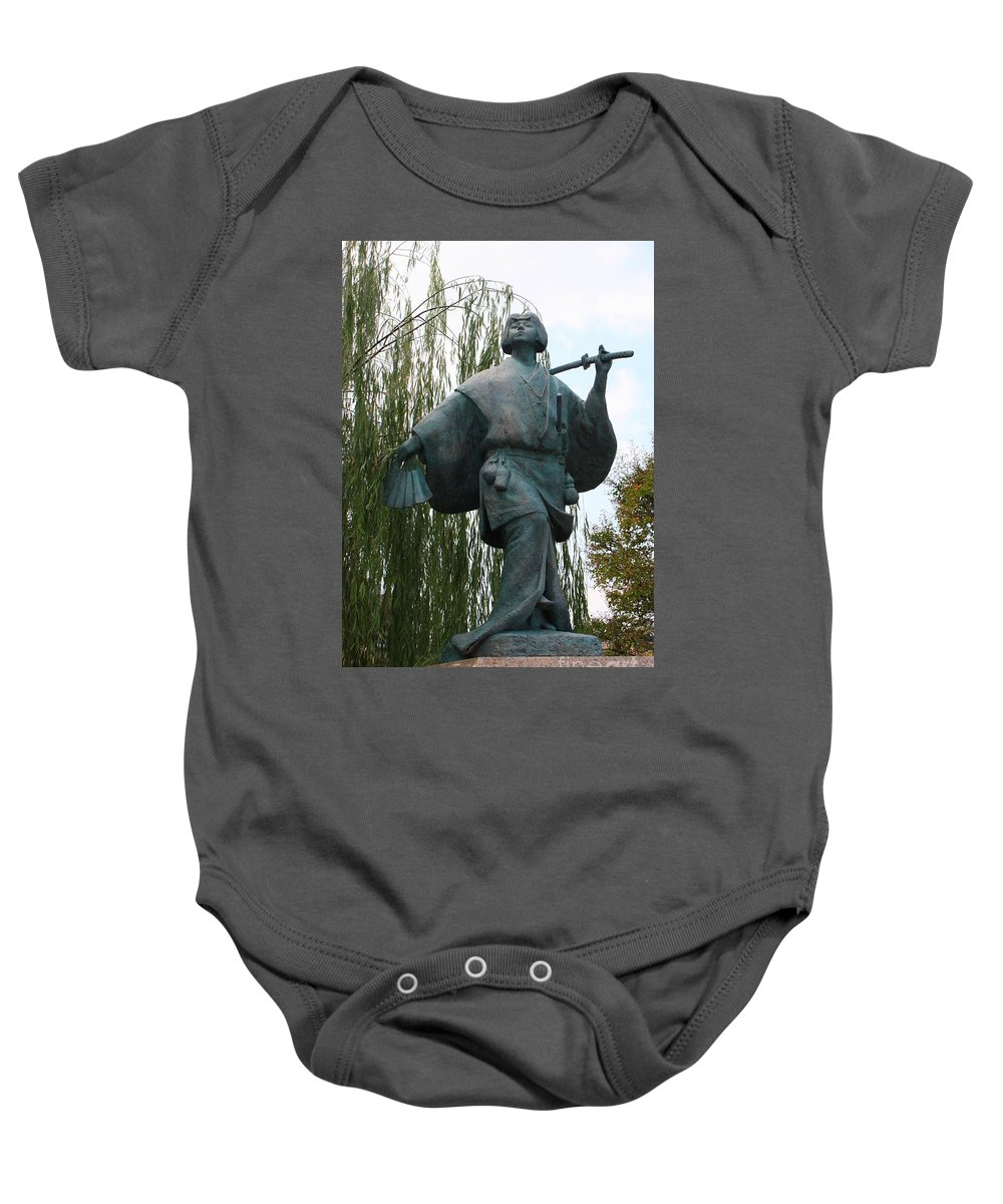 Kyoto Statue Baby Onesie featuring the photograph Kabuki Dancer Statue In Kyoto by Carol Groenen
