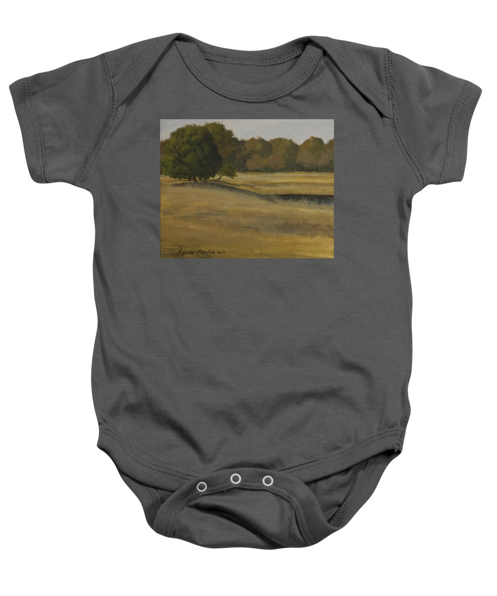 Landscape Baby Onesie featuring the painting Kanha Meadows by Mandar Marathe