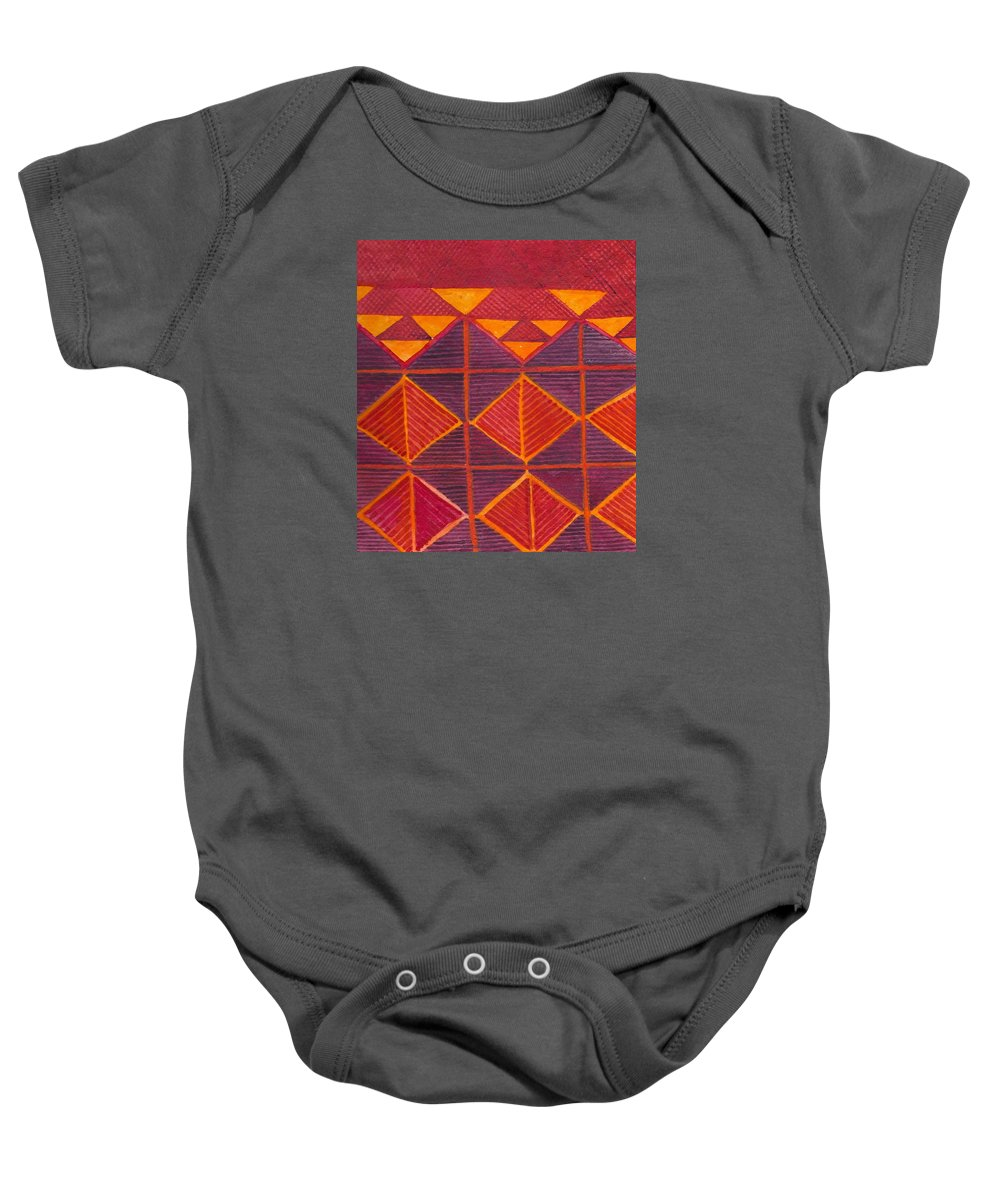 Kapa Baby Onesie featuring the painting Kapa Patterns 6 by Cynthia Conklin