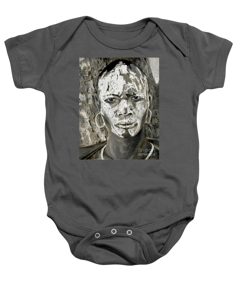 Tribal Art Baby Onesie featuring the painting Karo Man by Portraits By NC