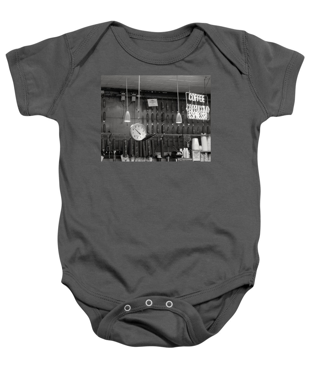 Deli Baby Onesie featuring the photograph Katz Deli by Debbi Granruth