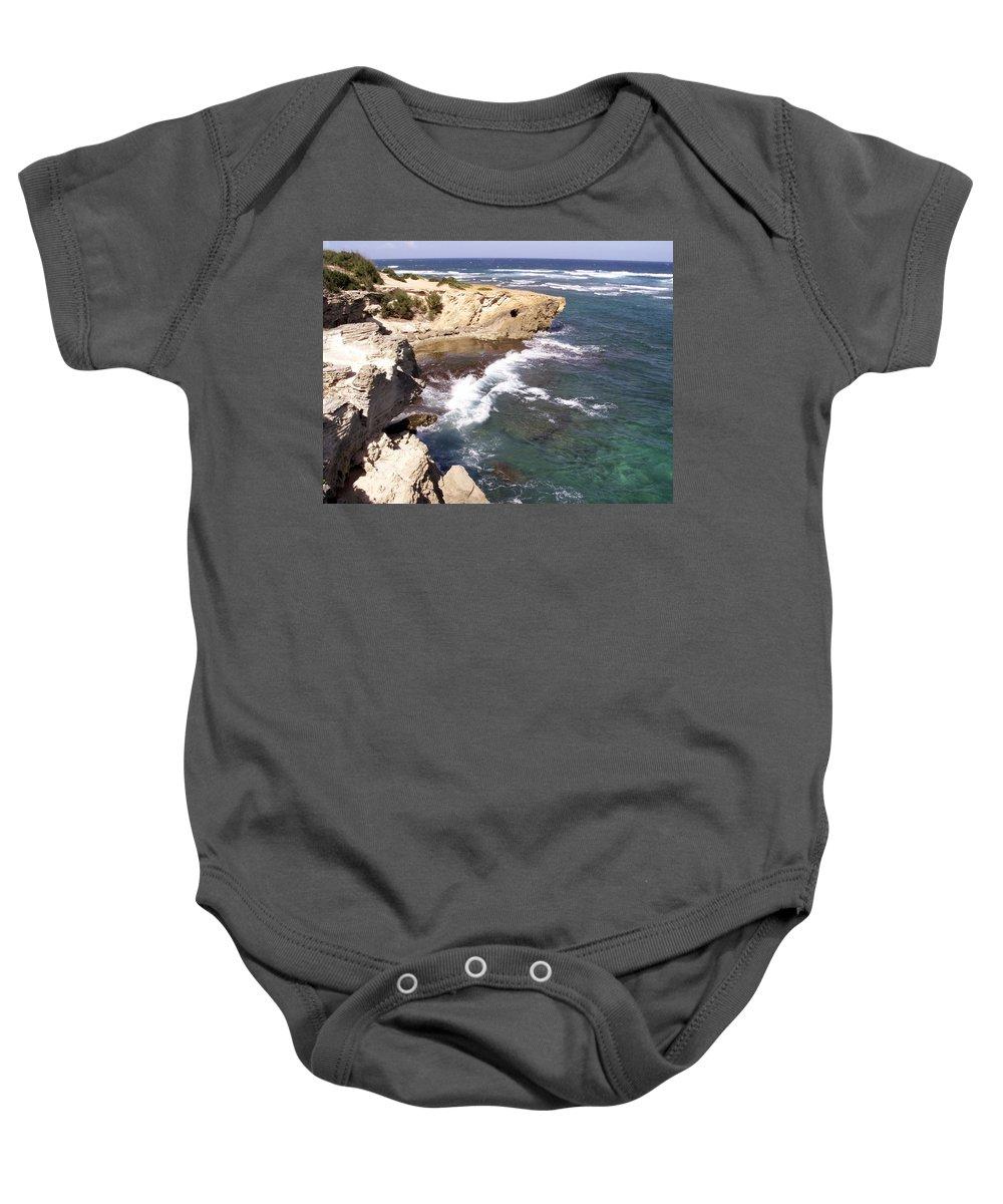 Kauai Baby Onesie featuring the photograph Kauai Coast With Shark Outcrop by Amy Fose