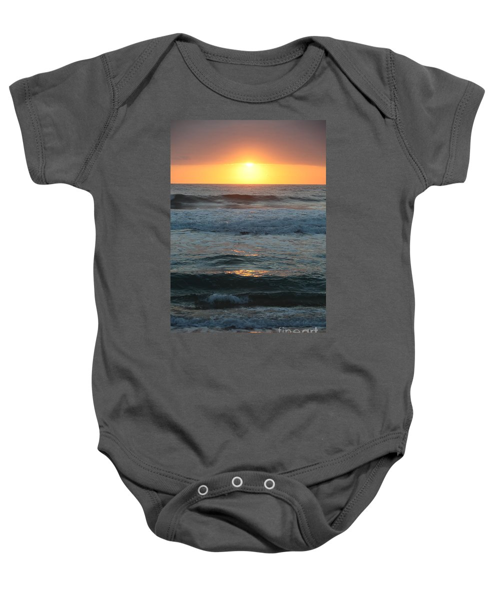 Kauai Baby Onesie featuring the photograph Kauai Sunrise by Nadine Rippelmeyer