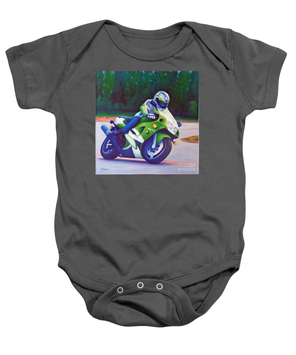 Motorcycle Baby Onesie featuring the painting Kawasaki Zx7 - In The Groove by Brian Commerford